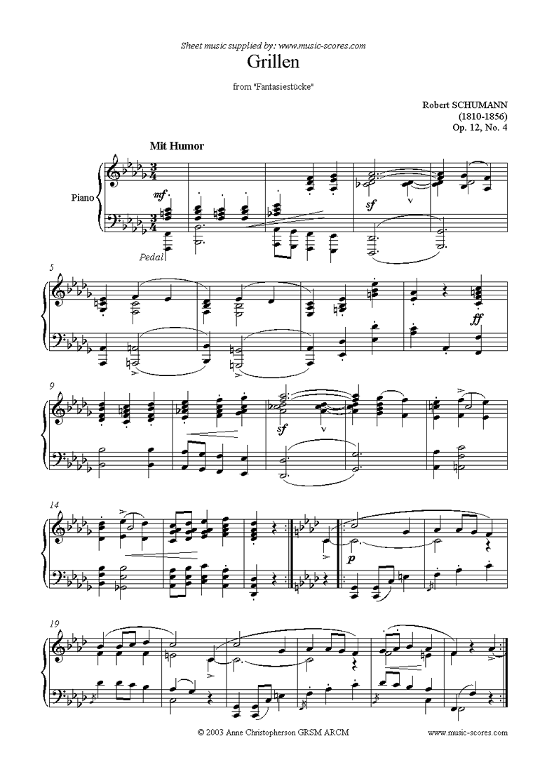 Front page of Op.12: Fantasiestücke: No.4: Grillen sheet music