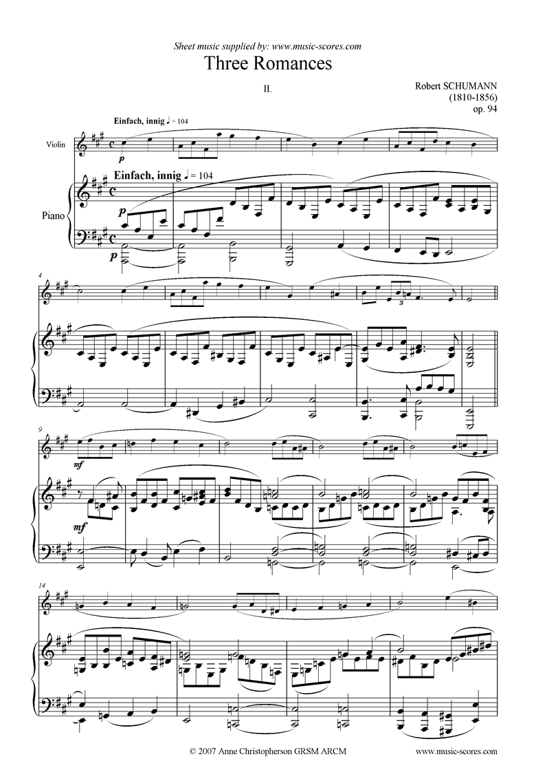 Front page of Op.94: Three Romances: No.2: Violin sheet music