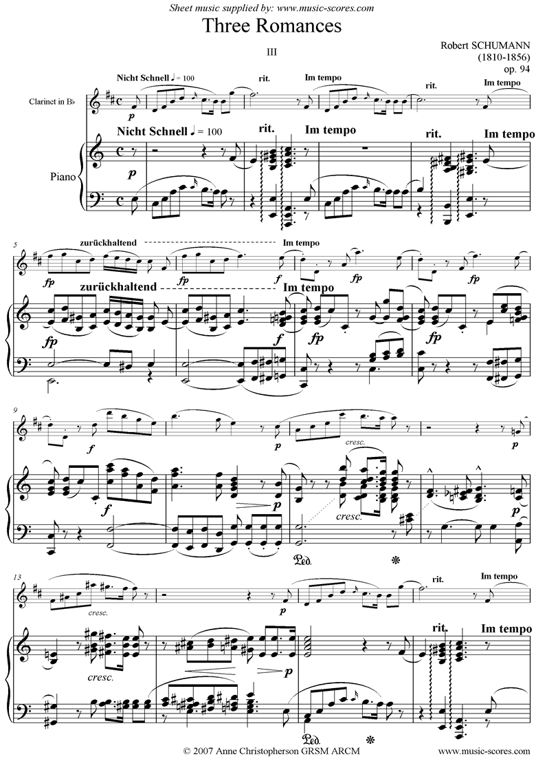 Front page of Op.94: Three Romances: No.3: Clarinet sheet music