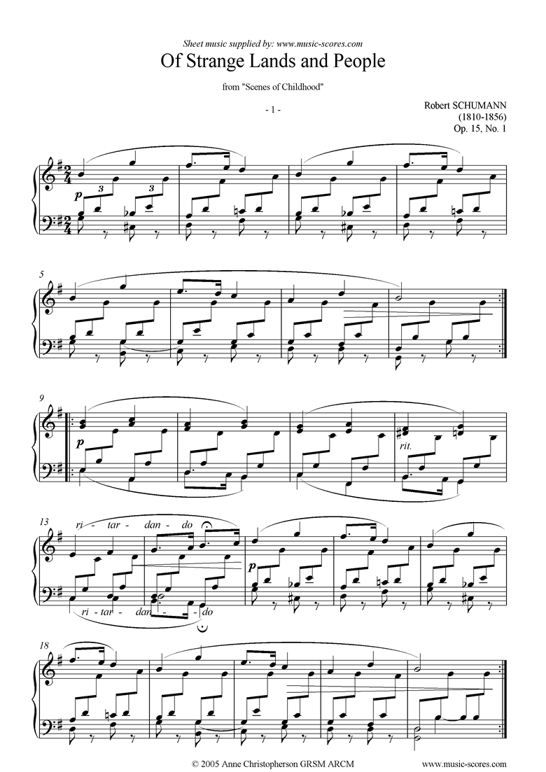 Front page of Op.15: Scenes from Childhood: 01 Strange Lands sheet music