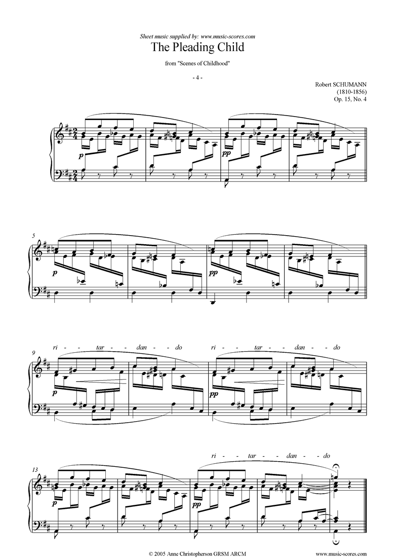 Front page of Op.15: Scenes from Childhood: 04 Pleading Child sheet music