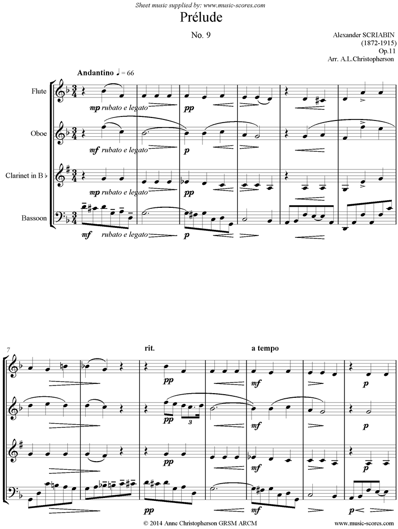 Front page of Op.11, No.9: Prelude: Wind 4 sheet music