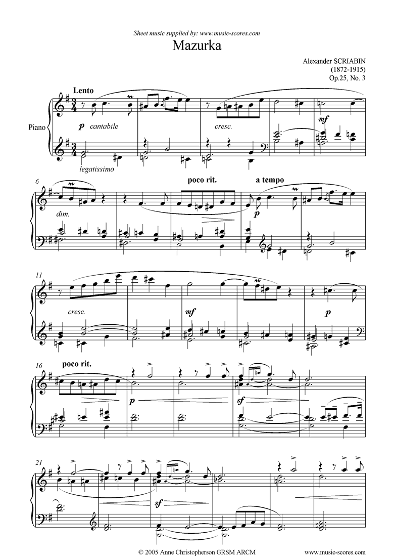Front page of Op.25, No.3: Mazurka sheet music