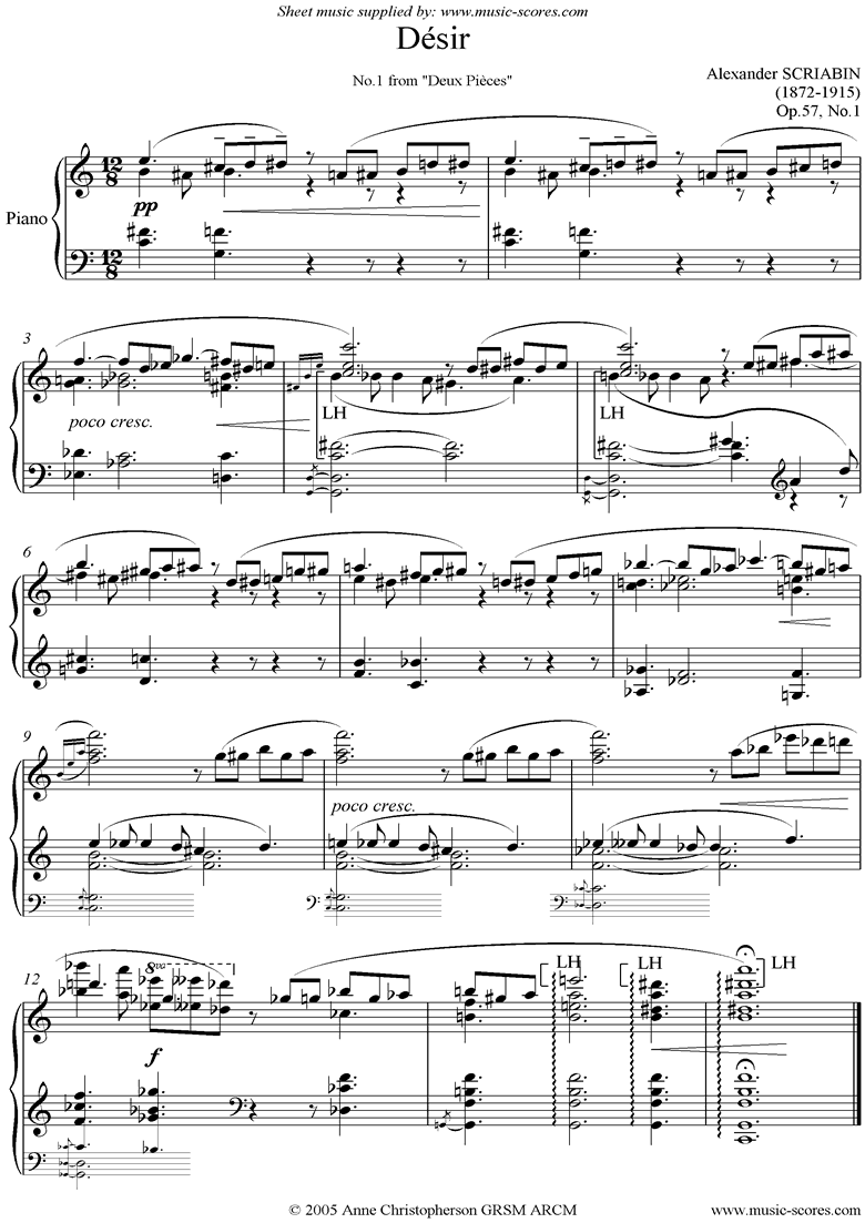 Front page of Op.57, No.1: Desir sheet music