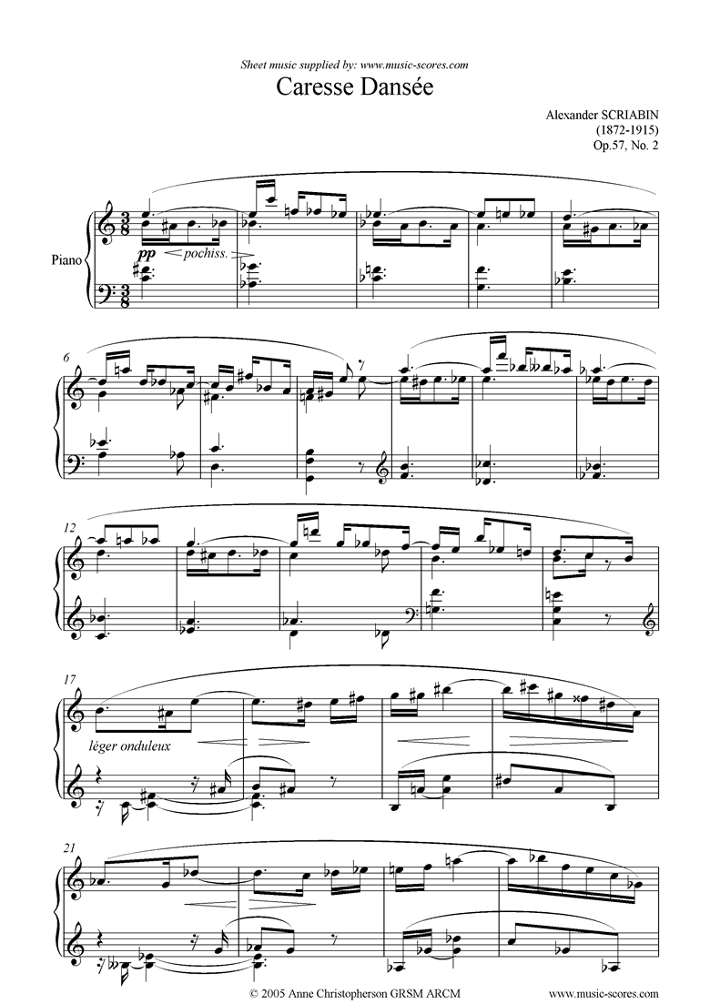 Front page of Op.57, No.2: Caresse Dansee sheet music