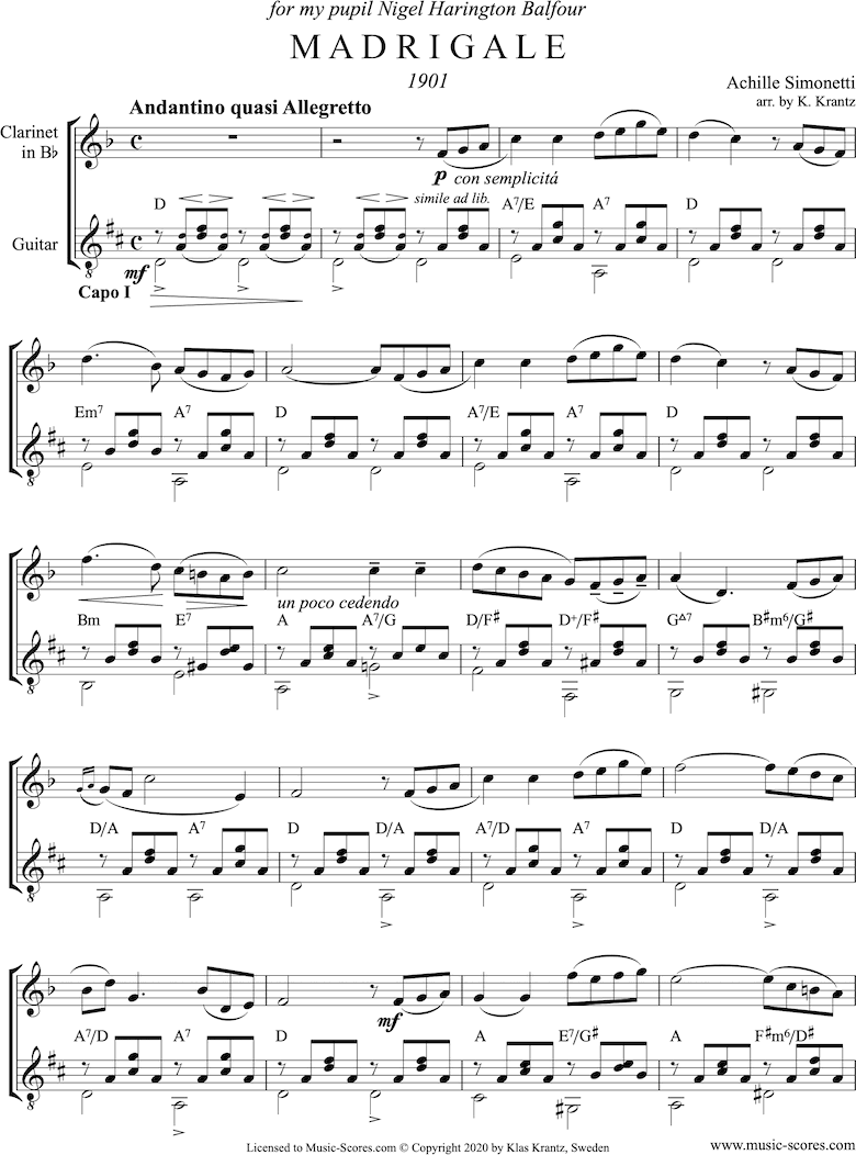 Front page of Madrigale: Clarinet, Guitar: sheet music