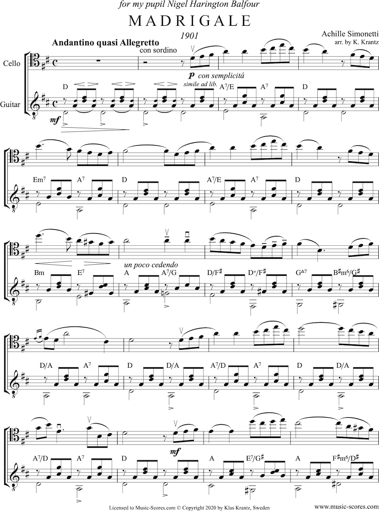 Front page of Madrigale: Cello, Guitar: D major sheet music