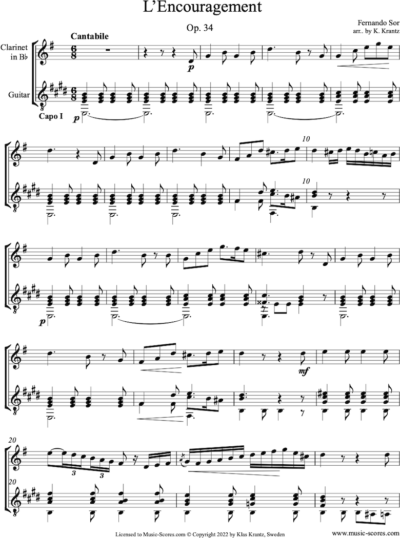 Front page of Op.34: Clarinet, Guitar Capo I sheet music