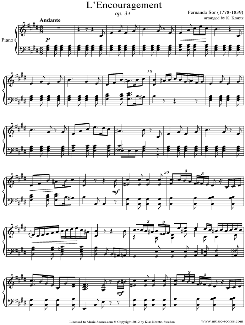 Front page of Op.34: Piano sheet music