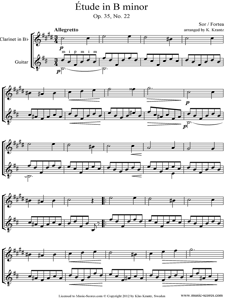 Front page of Op.35, No.22: Clarinet, Guitar sheet music