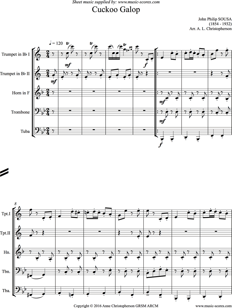 Cuckoo Galop: 2 Trumpets, Horn, Trombone, Tuba by Sousa