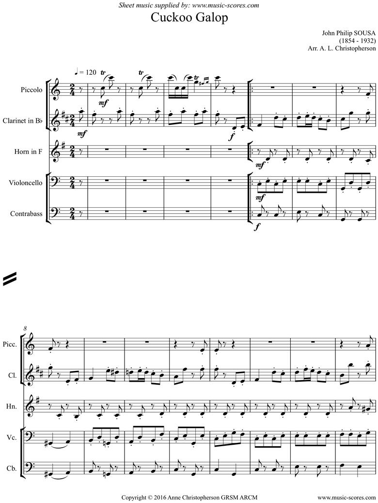 Cuckoo Galop: piccolo, clarinet, horn, cello, contrabass by Sousa