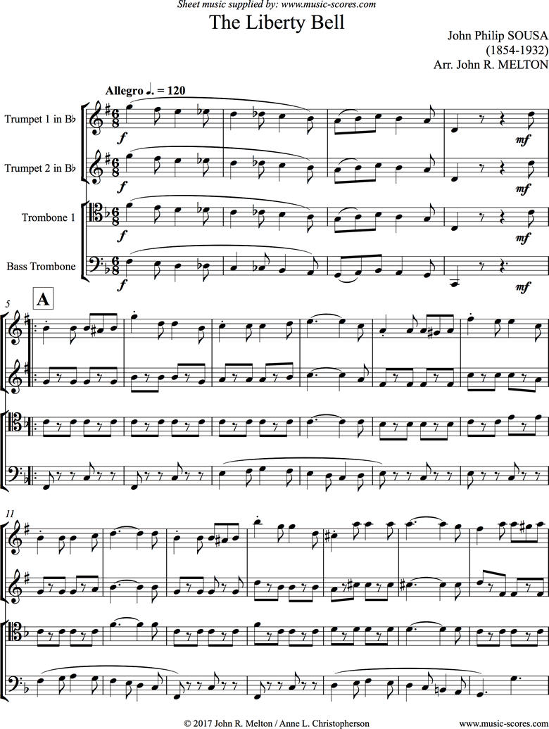 Front page of Liberty Bell: Brass Quartet sheet music
