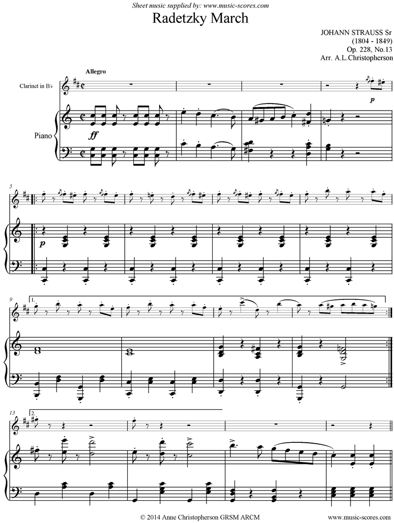 Front page of Op.228, No.13: Radetzky March: Clarinet sheet music