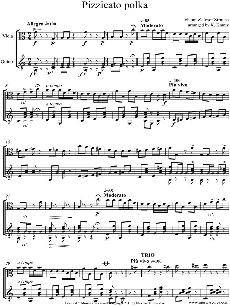 Front page of Pizzicato Polka: Viola, Guitar sheet music