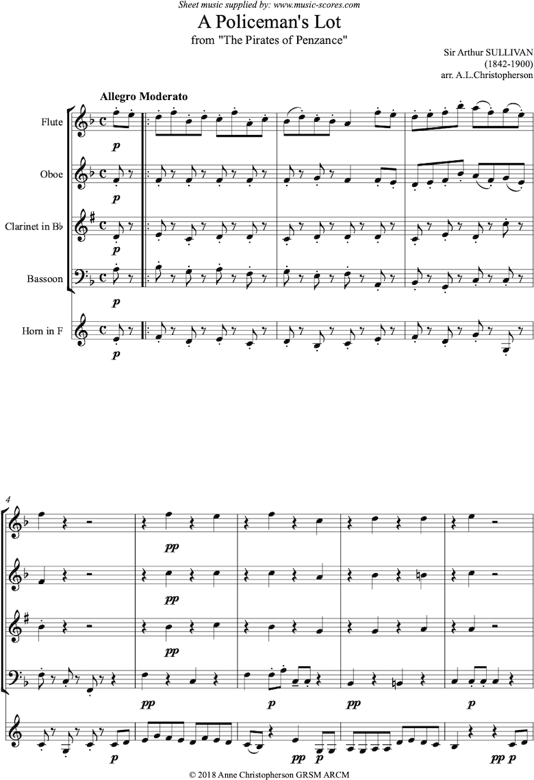 Front page of The Pirates of Penzance: A Policemans Lot: Wind Quintet sheet music