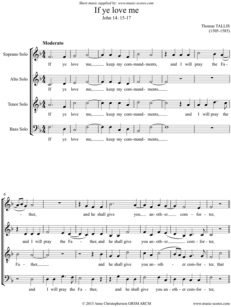 Front page of If Ye Love Me SATB sheet music