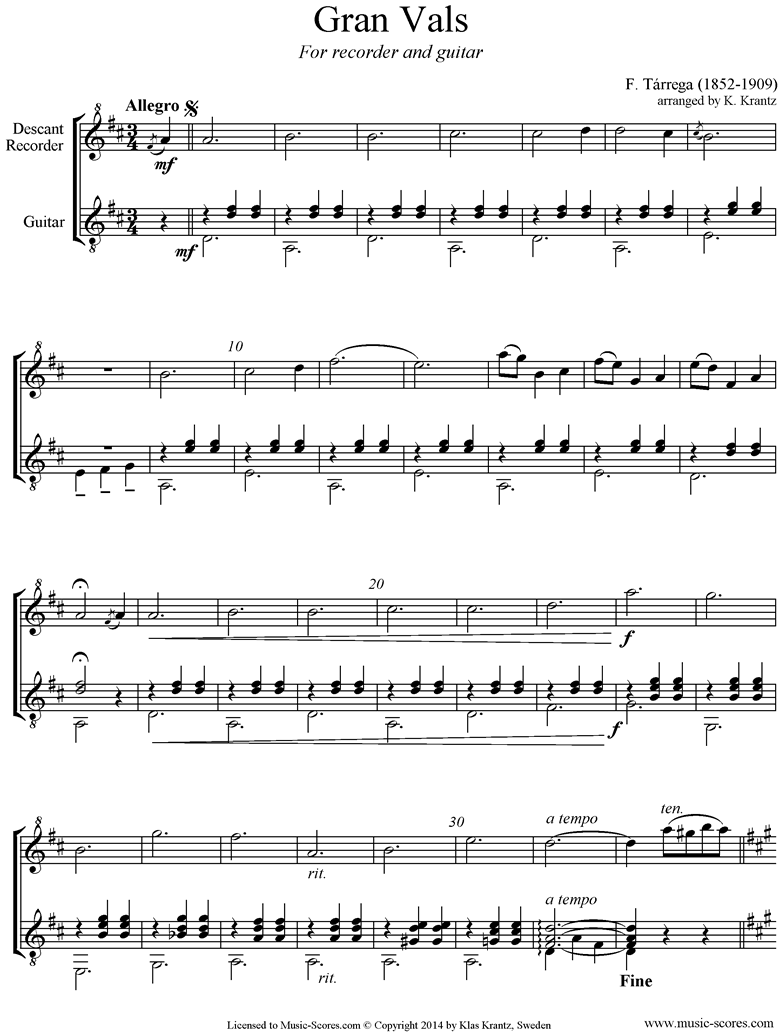 Front page of Gran Vals: Recorder, Guitar sheet music