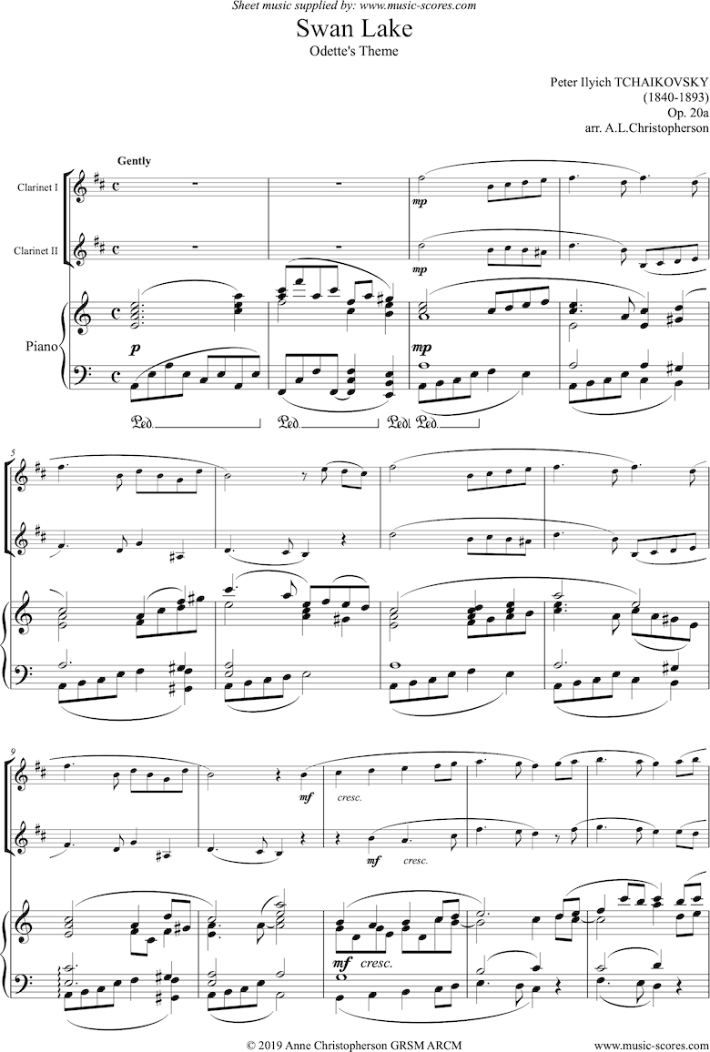 Front page of Theme from Swan Lake: Op. 20a - 2 clarinets, Piano sheet music