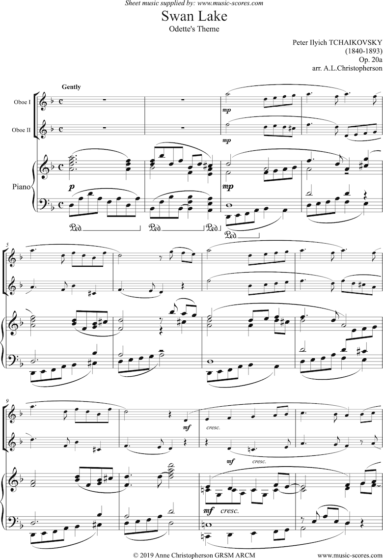 Front page of Theme from Swan Lake: Op. 20a - 2 Oboes, Piano sheet music