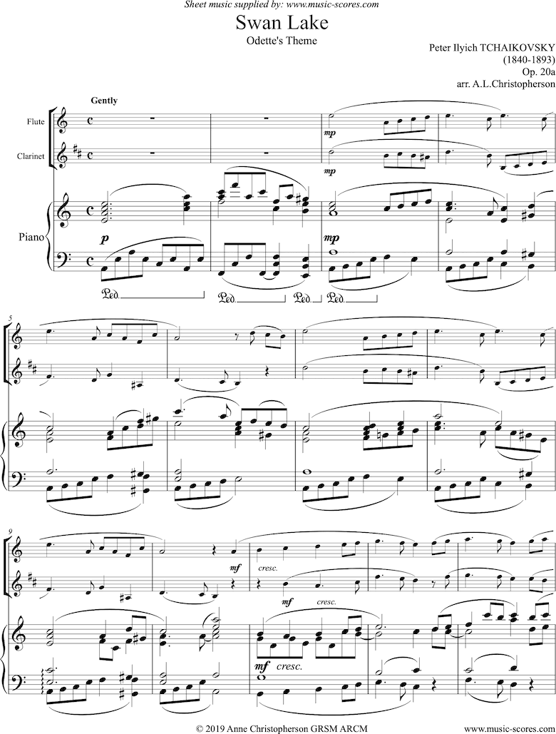 Front page of Odette s Theme from Swan Lake: Op. 20a - Flute, Clarinet, Piano sheet music