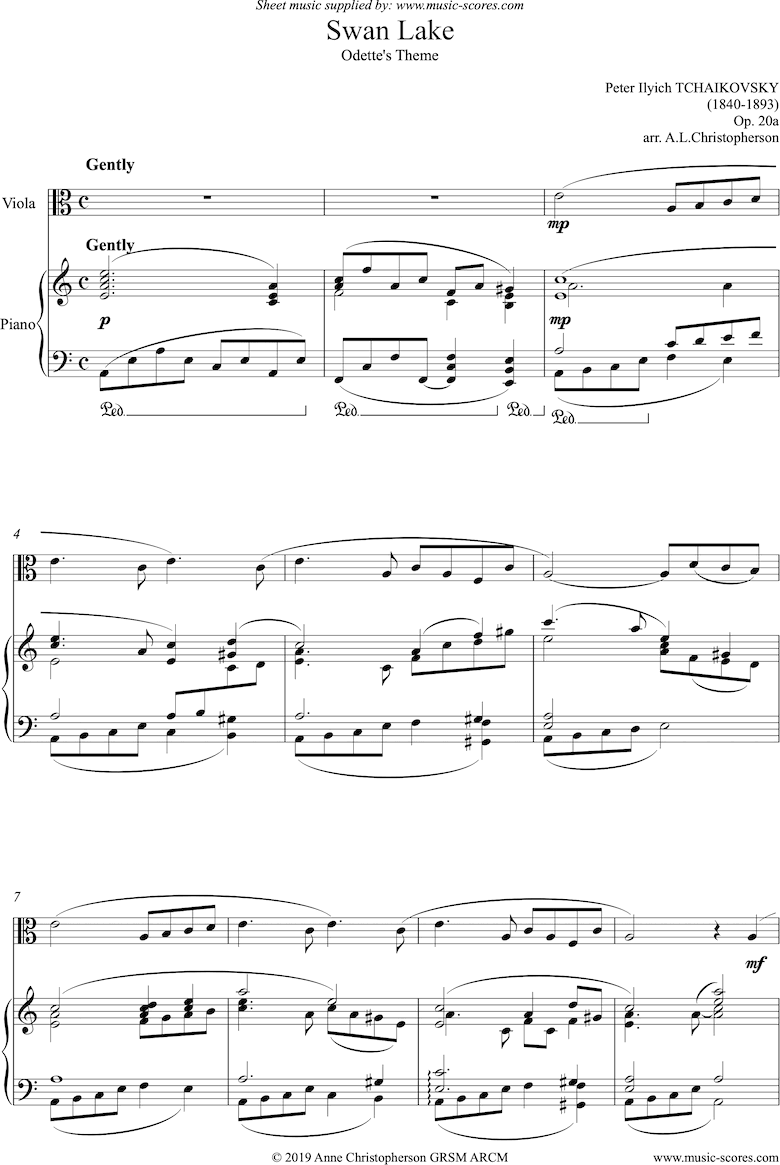 Front page of Odette s Theme from Swan Lake: Op. 20a - Viola sheet music
