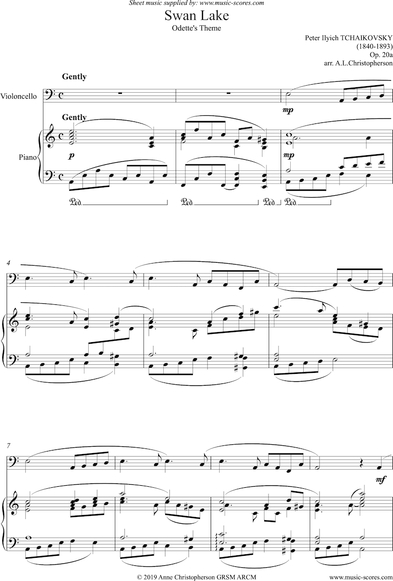 Front page of Odette s Theme from Swan Lake: Op. 20a - Cello sheet music