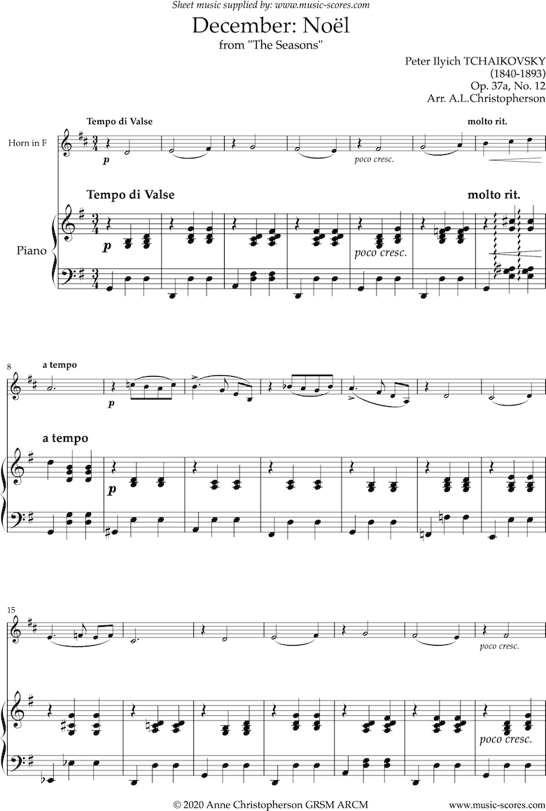 Front page of The Seasons, Op 37: December: Noel: French Horn sheet music