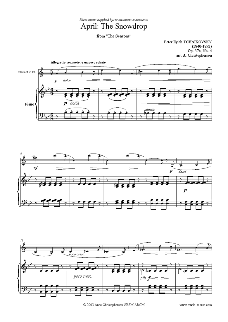 Front page of The Seasons, Op 37: April: The Snowdrop - Clarinet sheet music