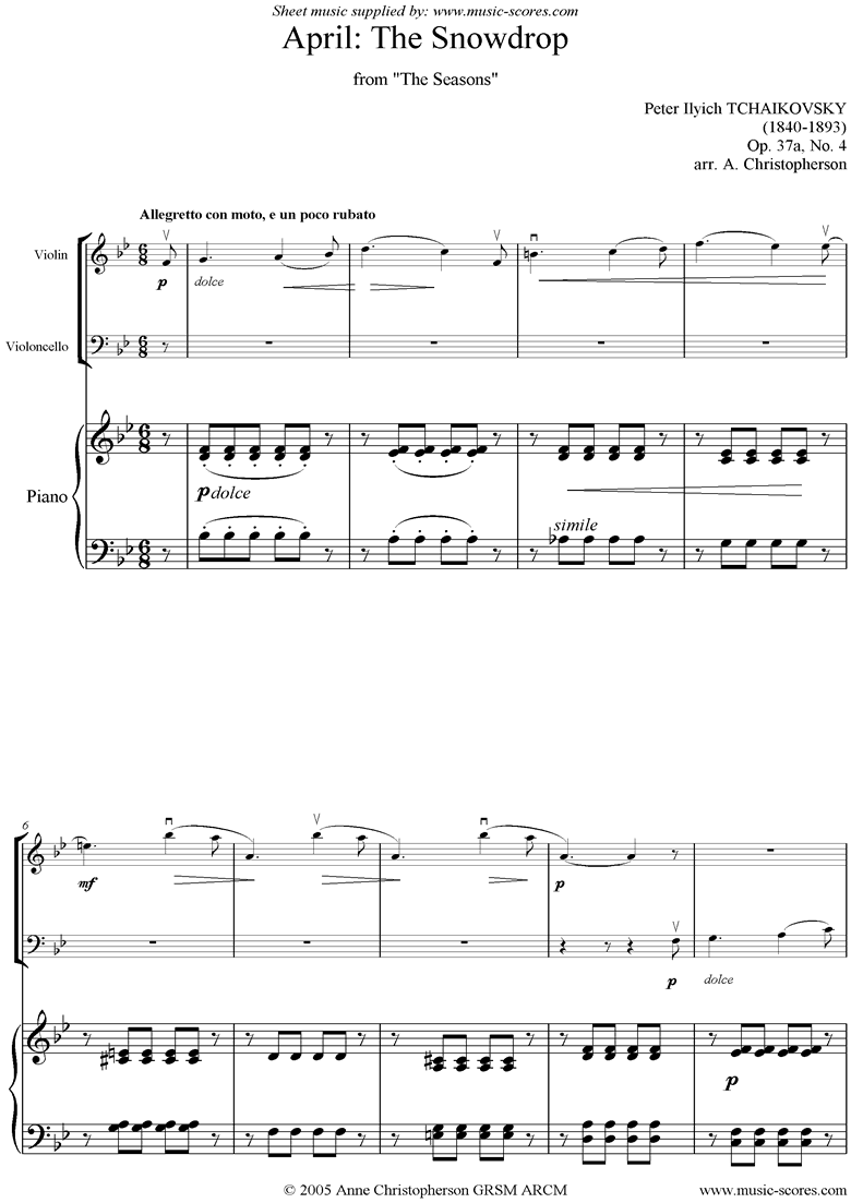 Front page of The Seasons, Op 37: April: The Snowdrop - Vn, Vc sheet music