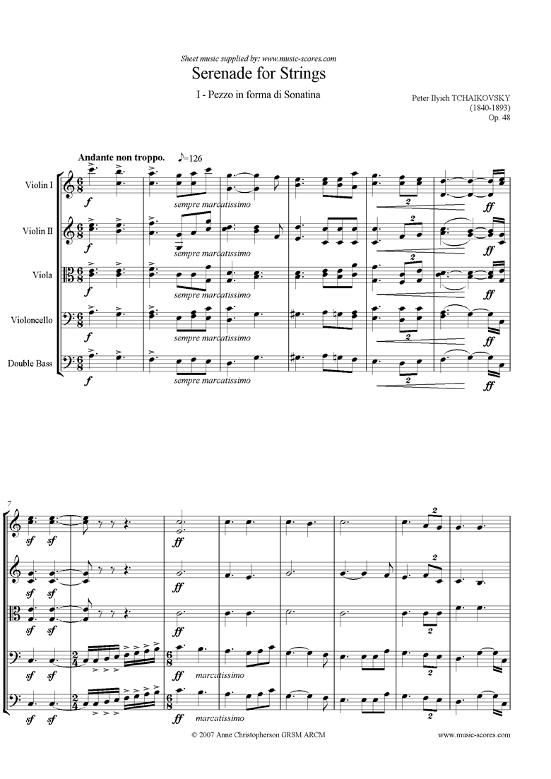Front page of Op.48: Serenade for Strings, 1st mvt: Andante sheet music