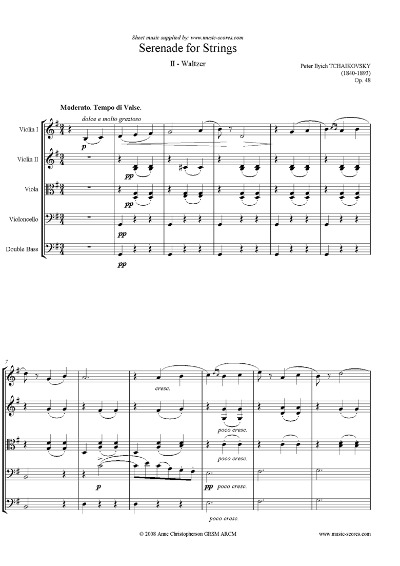 Front page of Op.48: Serenade for Strings, 2nd mvt: Waltz sheet music
