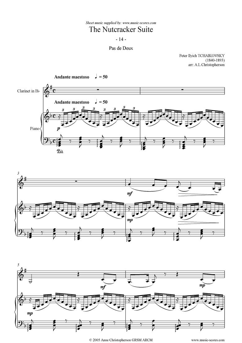 Nutcracker Suite: 14 Pas de Deux abridged Clarinet by Tchaikovsky