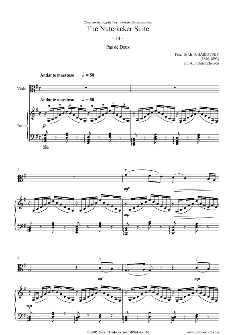 Nutcracker Suite: 14 Pas de Deux abridged Viola by Tchaikovsky
