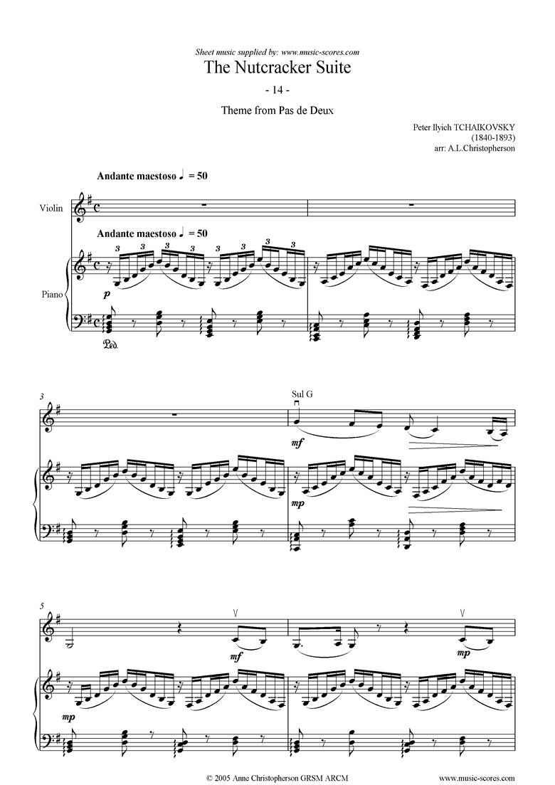 Nutcracker Suite: 14 Pas de Deux abridged Violin by Tchaikovsky