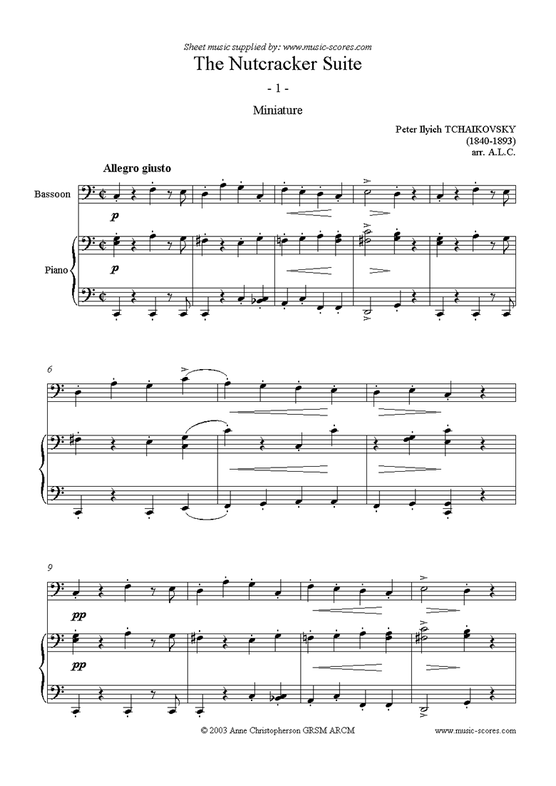 Front page of Nutcracker Suite: Miniature - Bassoon sheet music