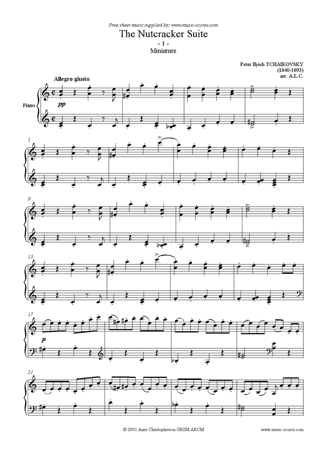 Front page of Nutcracker Suite: 01 Miniature sheet music