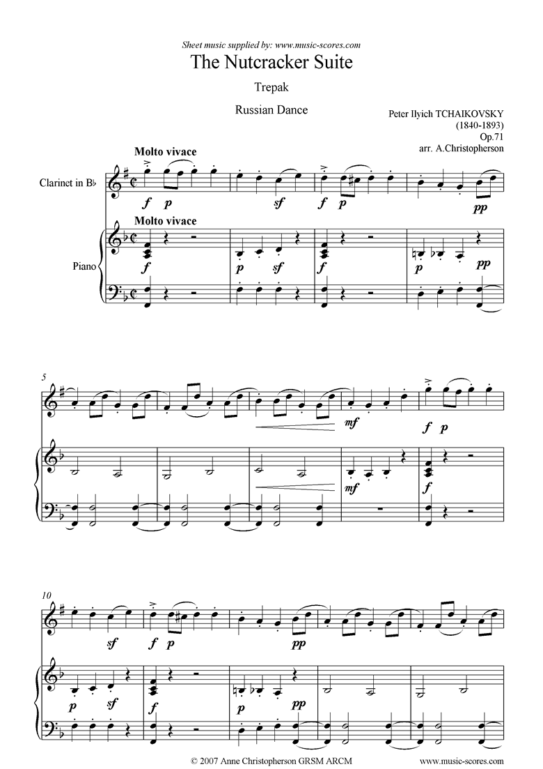 Front page of Nutcracker Suite: Russian Dance: Trepak: Clarinet: F ma sheet music