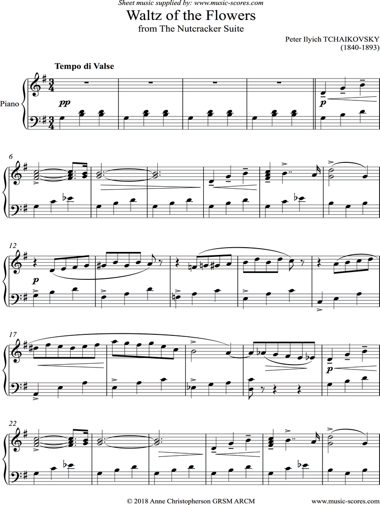 Front page of Nutcracker Suite: Waltz of The Flowers: Short version: Piano sheet music
