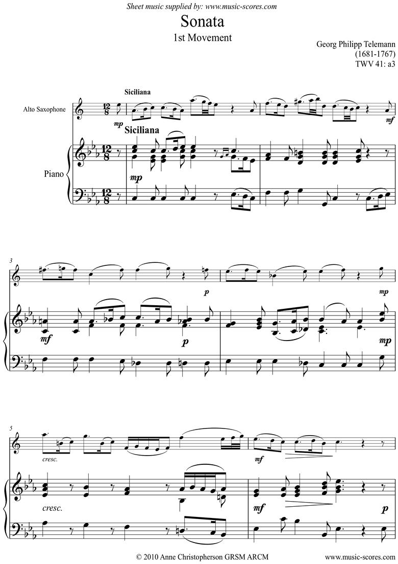 Sonata TWV41,a3 1st mvt Alto Sax by Telemann
