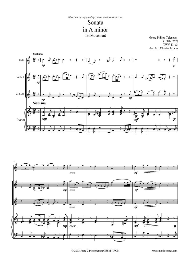 Front page of Sonata TWV41,a3 1st mvt Fl 2Vns Pno sheet music