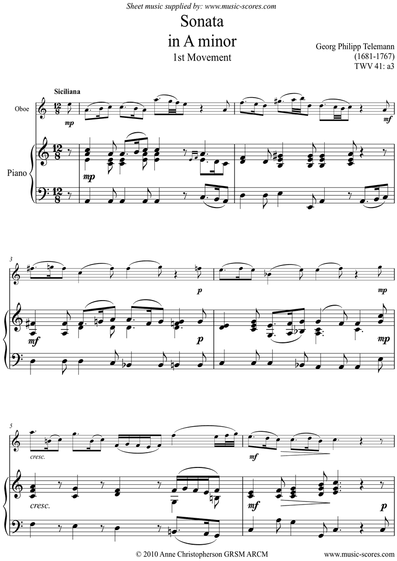 Front page of Sonata TWV41,a3 1st mvt Oboe sheet music