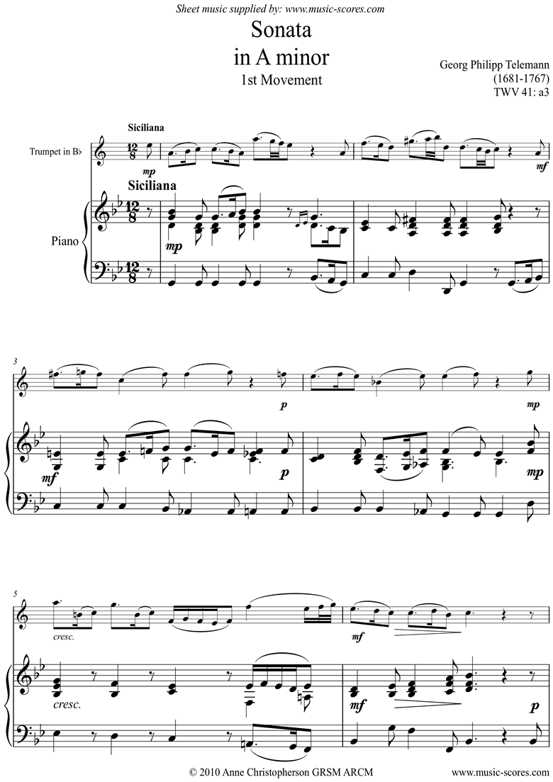 Front page of Sonata TWV41,a3 1st mvt Trumpet sheet music