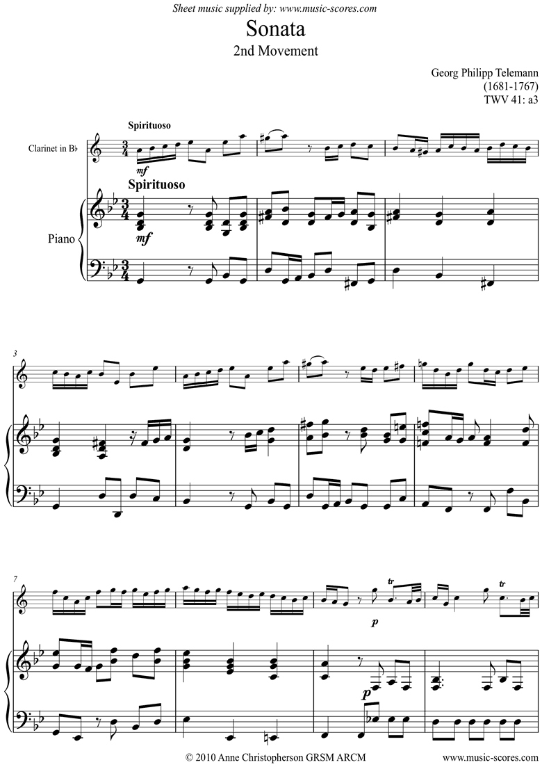 Sonata TWV41,a3 2nd mvt Clarinet by Telemann