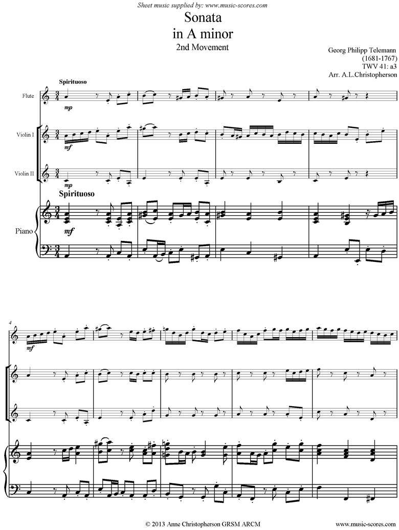 Front page of Sonata TWV41,a3 2nd mvt Fl 2Vns Pno sheet music