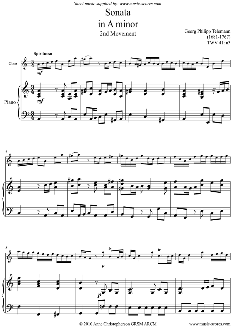 Front page of Sonata TWV41,a3 2nd mvt Oboe sheet music