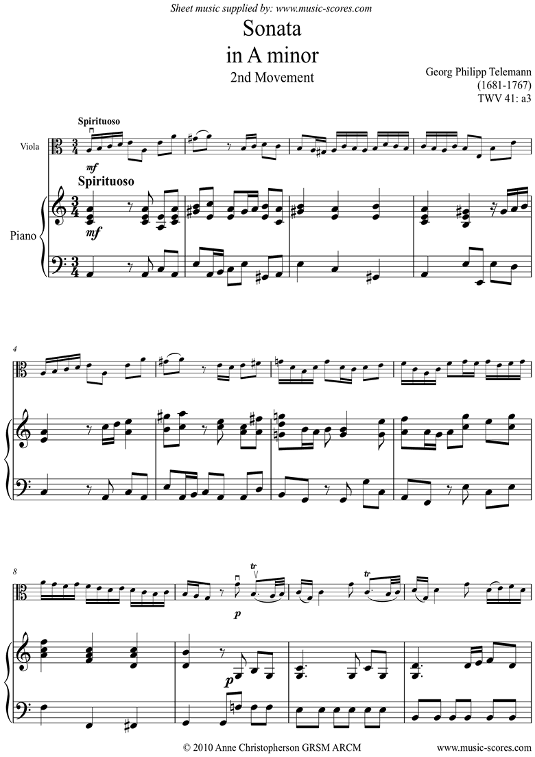 Front page of Sonata TWV41,a3 2nd mvt Viola sheet music