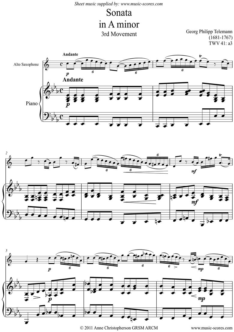 Front page of Sonata TWV41,a3 3rd mvt Alto Sax sheet music