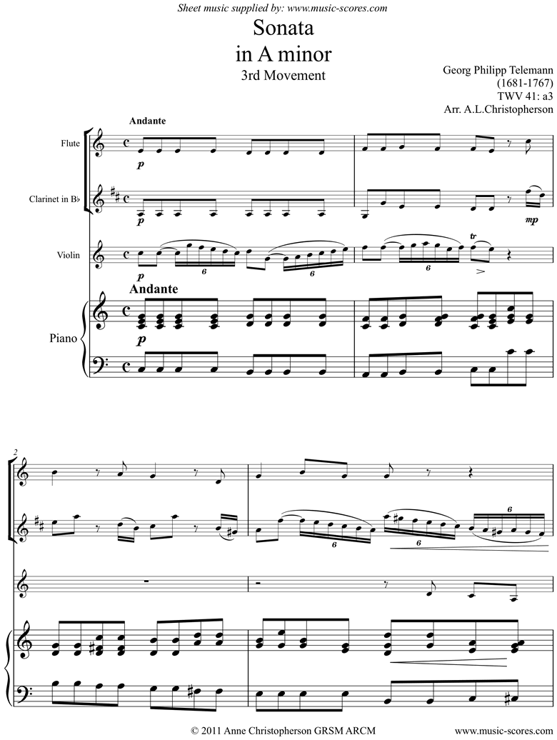 Front page of Sonata TWV41,a3 3rd mvt Fl Cl Vn Pno sheet music