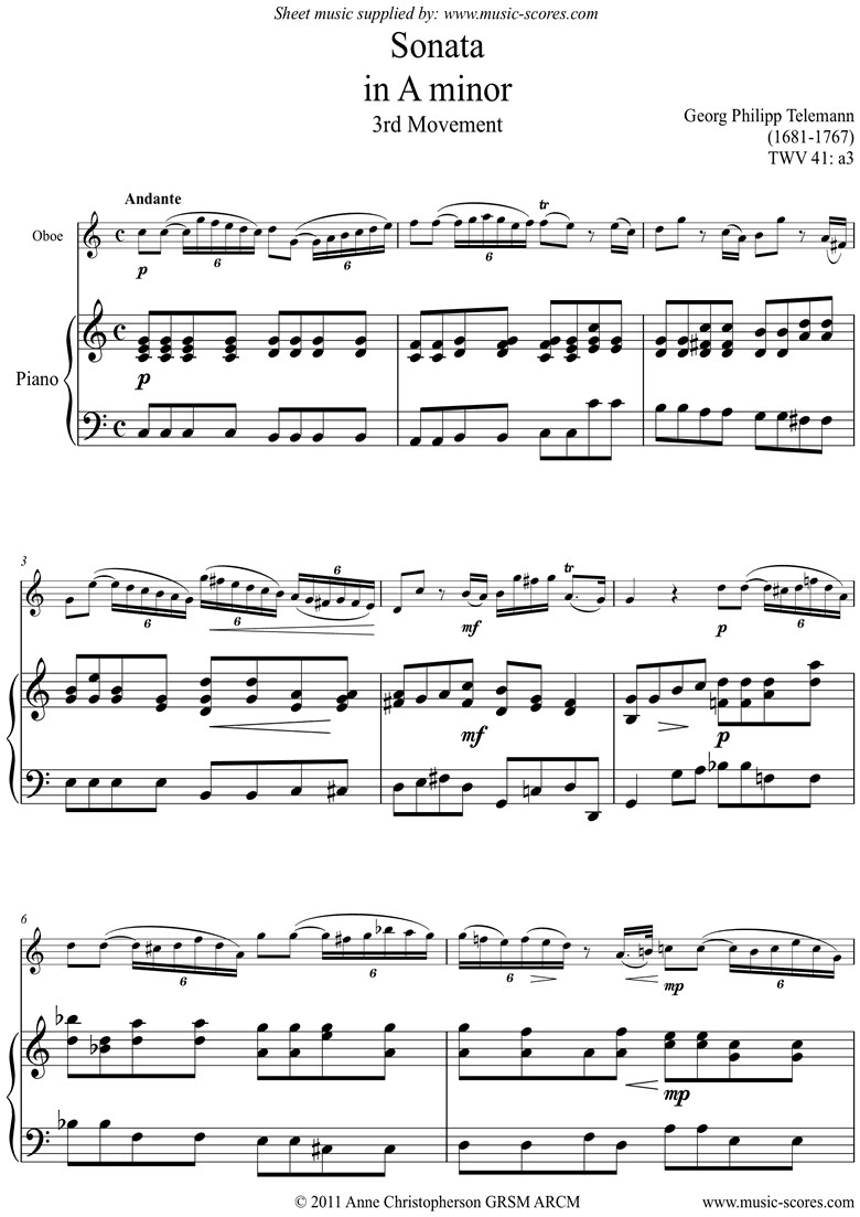 Front page of Sonata TWV41,a3 3rd mvt Oboe sheet music
